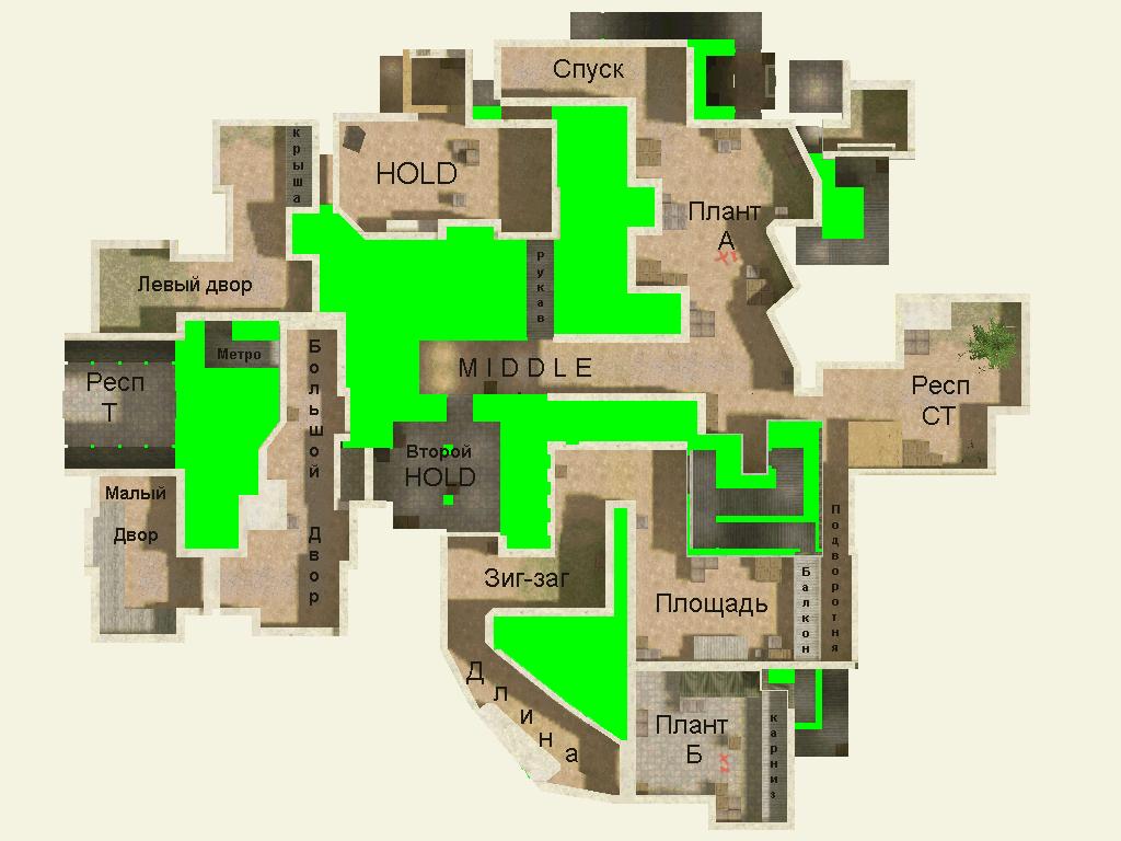 Обозначение Карты De_dust2 От Нави